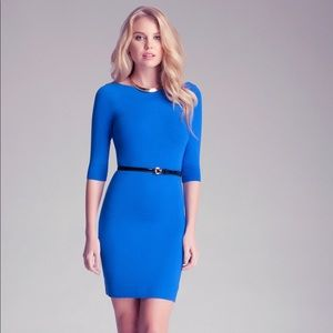 Bebe XS Blue Belted Sweater Dress